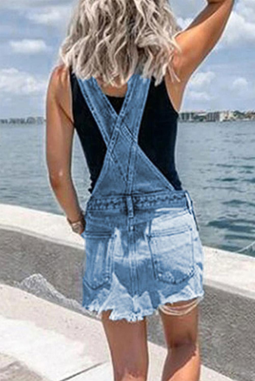蓝色可调式搭扣吊带口袋牛仔迷你裙 LC221475