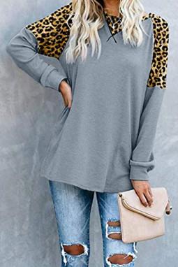 灰色时尚豹纹拼接长袖宽松休闲上衣