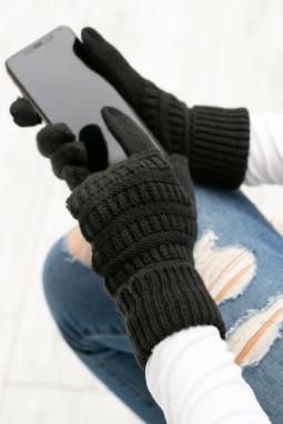 绒革拼接黑色针织冬季手套