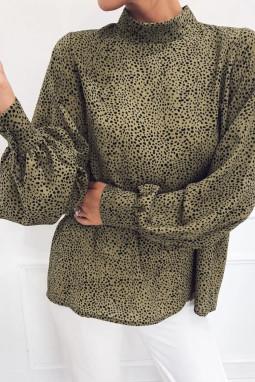 橄榄绿半高领灯笼袖子时尚印花女士宽松上衣