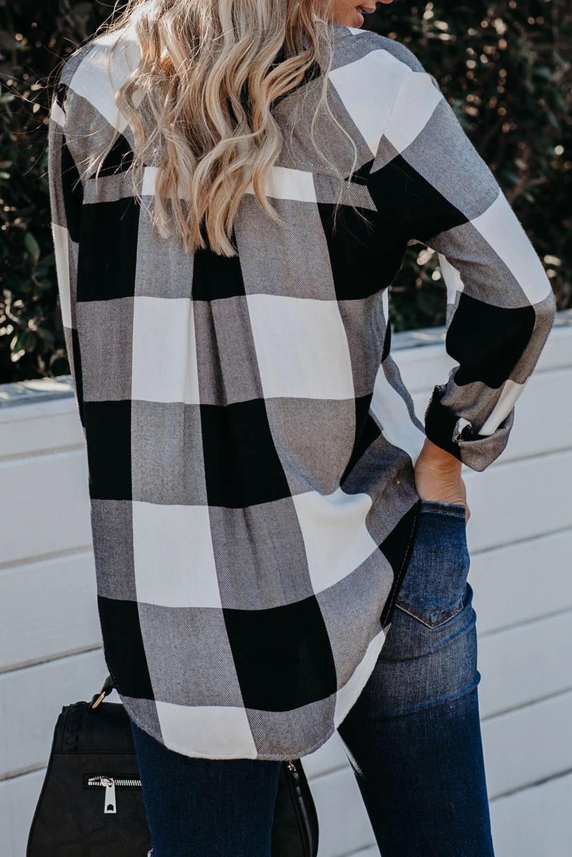 黑白格纹高低下摆排扣翻领宽松长袖女士衬衫 LC255177