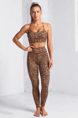 经典豹纹印花运动文胸紧身裤瑜伽锻炼两件套