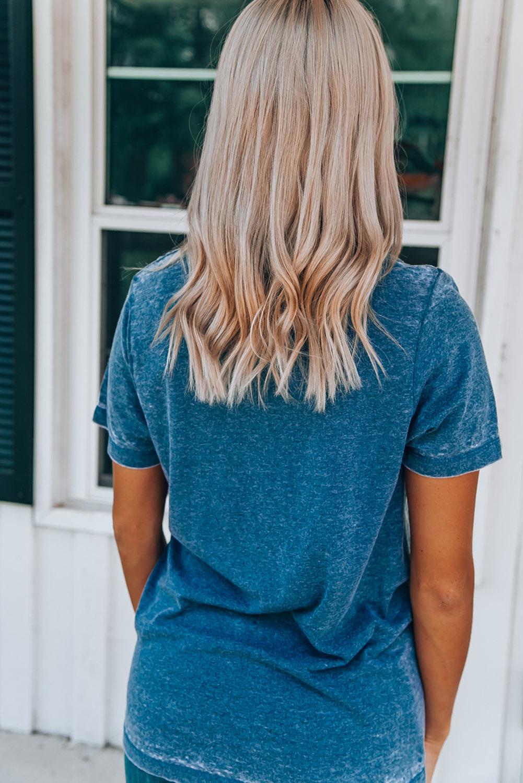 蓝色圆领短袖字母南瓜印花休闲女士T恤衫 LC2521564