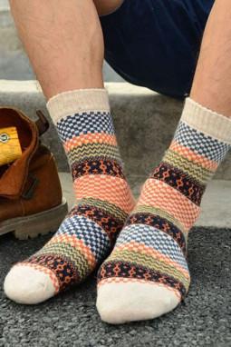 多色印花针织中长袜