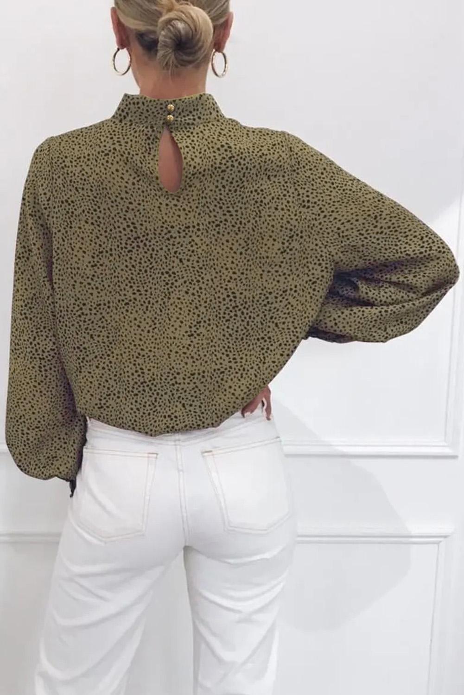 橄榄绿半高领灯笼袖子时尚印花女士宽松上衣 LC255143