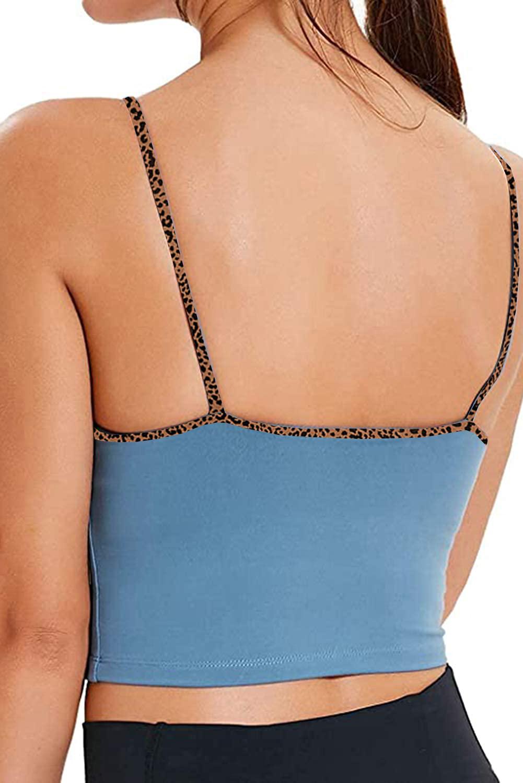 豹纹饰边瑜伽性感聚拢蓝色运动文胸 LC264045