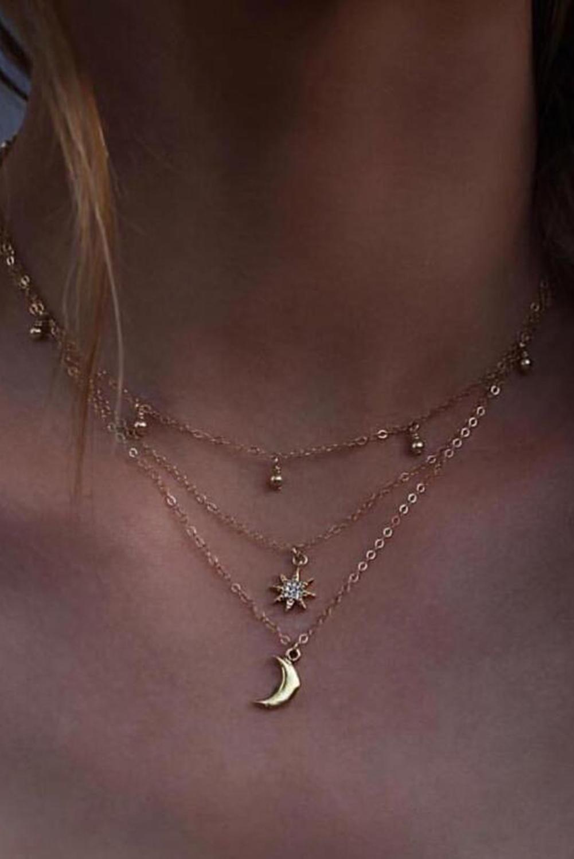 精美月亮吊坠魅力分层项链 LC01331