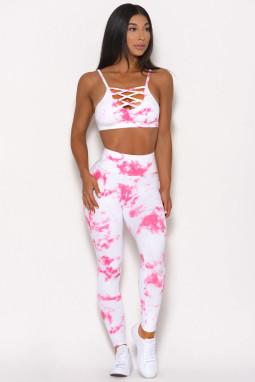 白色时尚扎染交叉设计运动文胸高腰修身运动瑜伽套装