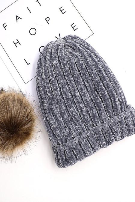 灰色雪尼尔针织帽 LC02257