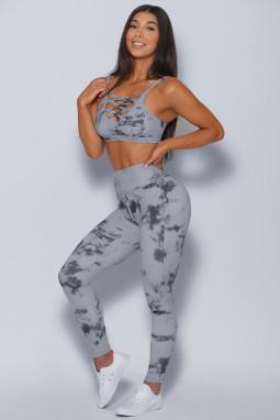 灰色时尚扎染交叉设计运动文胸高腰修身运动瑜伽套装