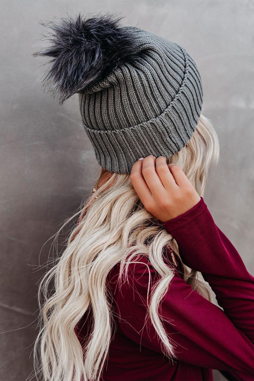 灰色针织保暖豆豆帽 LC02259
