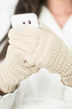 绒革拼接米色针织冬季手套