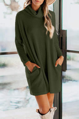绿色高领长袖口袋针织迷你连衣裙