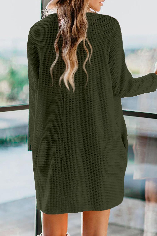 绿色高领长袖口袋针织迷你连衣裙 LC273006