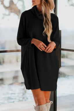 黑色高领长袖口袋针织迷你连衣裙