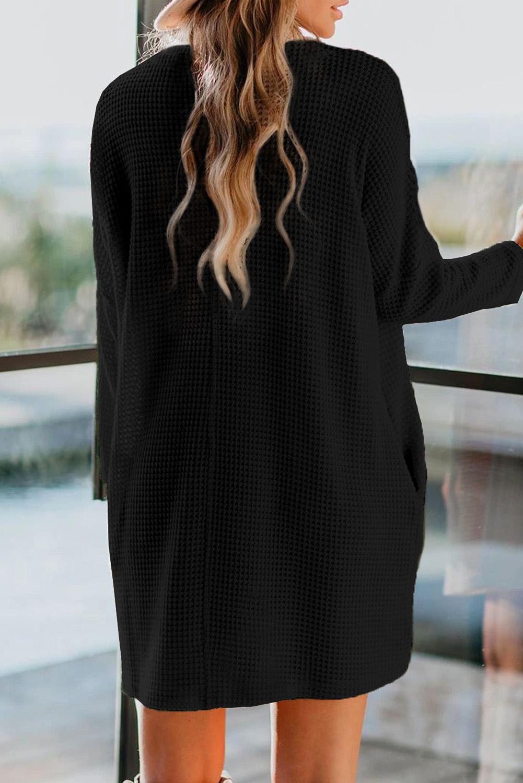 黑色高领长袖口袋针织迷你连衣裙 LC273006