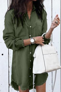 绿色长袖排扣毛须下摆牛仔衬衫裙