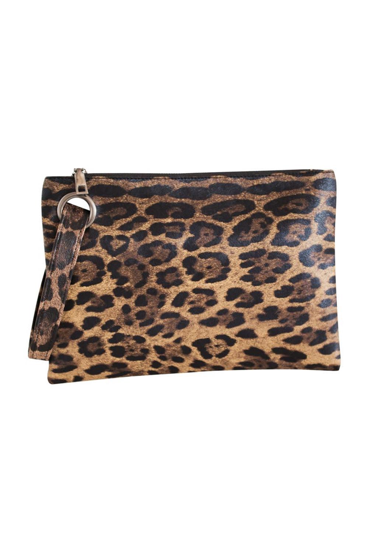 棕色时尚豹纹手拿包 LC003068
