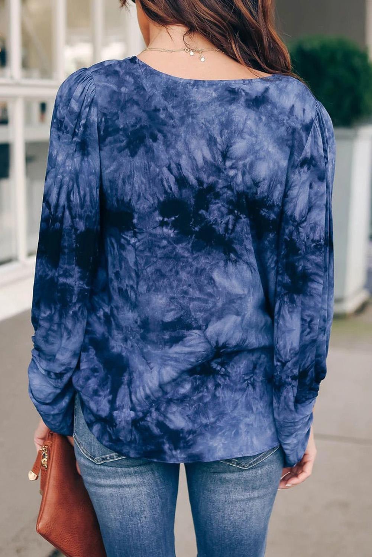 蓝色扎染V领气球袖宽松休闲女士上衣 LC2511603