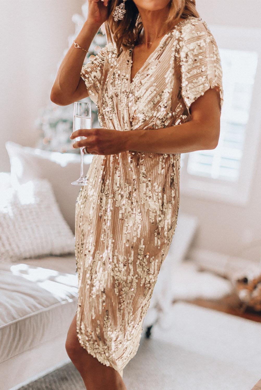 奢华闪亮金色V领度假派对亮片连衣裙 LC611843