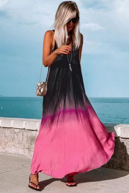 拼色扎染渐变无袖V领波西米亚度假连衣长裙