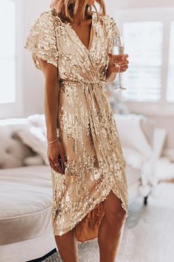奢华闪亮金色V领度假派对亮片连衣裙