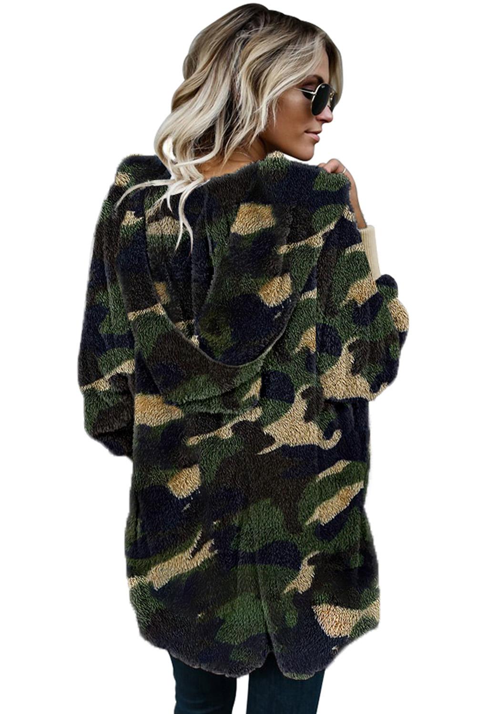 绿色迷彩印花柔软毛绒保暖长袖连帽开襟外套 LC851380