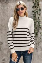 白色条纹纽扣装饰保暖舒适高领毛衣