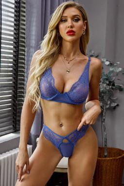 蓝色精致性感文胸三角底裤内衣套装