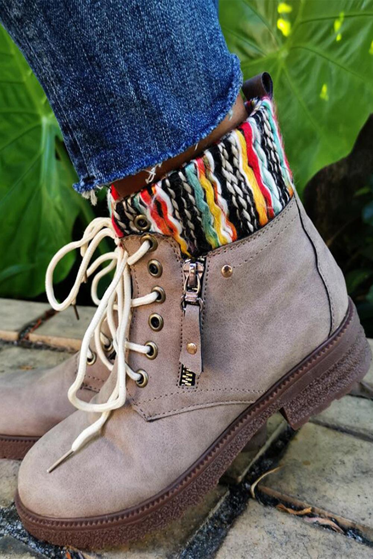 卡其色时尚系带短靴 LC12318