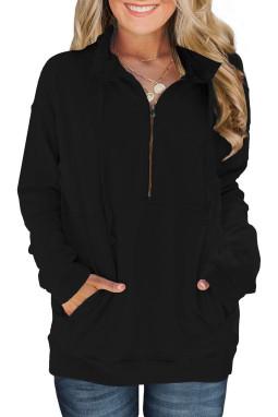 黑色抽绳口袋半拉链设计立领长袖套头卫衣