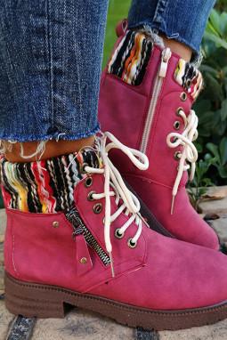 红色时尚系带短靴