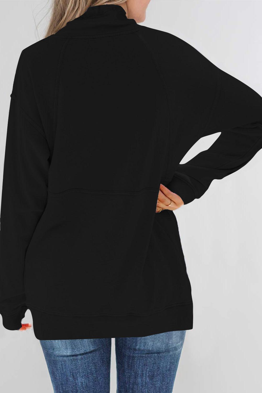 黑色抽绳口袋半拉链设计立领长袖套头卫衣 LC253722