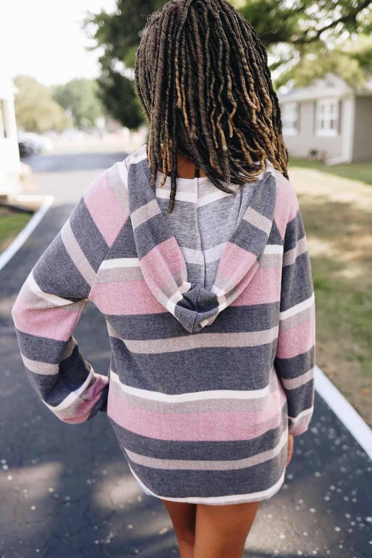 粉色时尚灯笼袖系带色块条纹针织帽衫 LC2531405