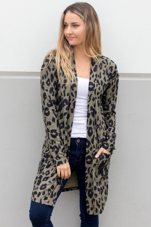时尚豹纹长袖宽松舒适女士开襟衫 LC254112