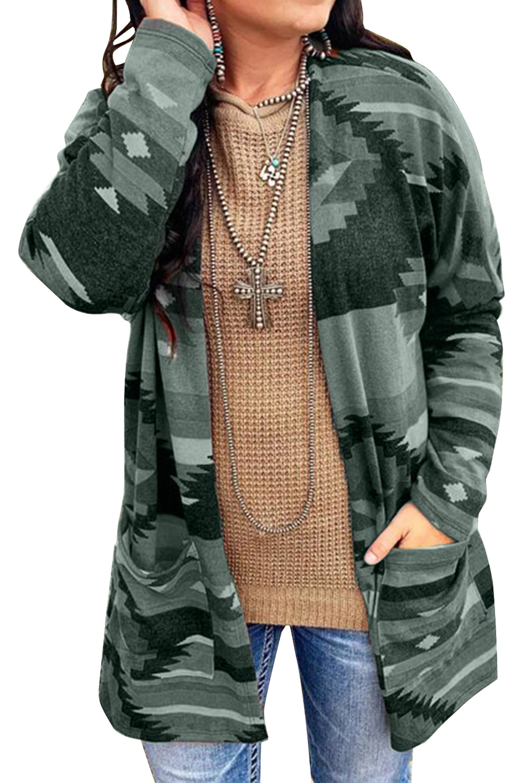 绿色阿兹特克印花口袋宽松长袖开衫 LC851350