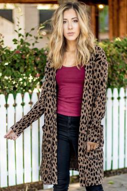 棕色豹纹长袖宽松舒适女士开襟衫