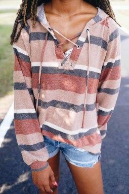 橙色百搭灯笼袖系带色块条纹针织帽衫