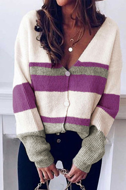 紫色排扣V领长袖拼色时尚休闲针织毛衣