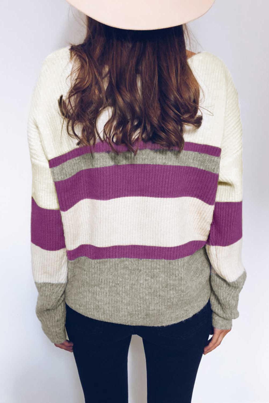 紫色排扣V领长袖拼色时尚休闲针织毛衣 LC271024