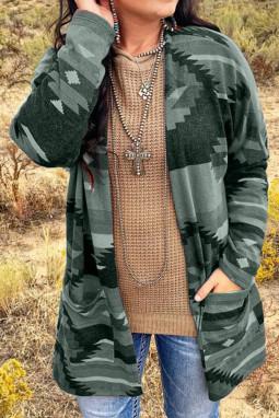 绿色阿兹特克印花口袋宽松长袖开衫
