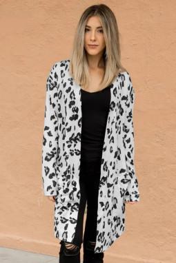 白色豹纹长袖宽松舒适女士开襟衫