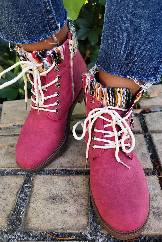 红色时尚系带短靴 LC12318