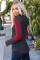 红色拼接长袖时尚条纹束带连帽衫