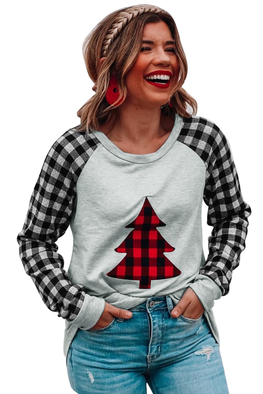 经典格纹拼接长袖圣诞树灰色舒适套头衫 LC2511860