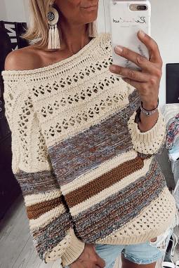 棕色时尚条纹宽松镂空长袖套头毛衣