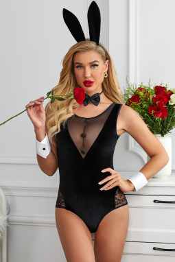性感透视网纱蕾丝拼接兔女郎角色扮演服装