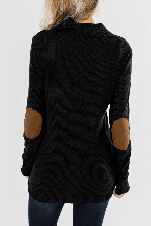 黑色可爱领口纽扣肘部补丁长袖宽松针织上衣 LC2511661