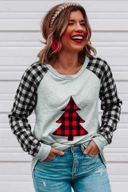经典格纹拼接长袖圣诞树灰色舒适套头衫