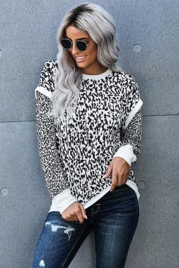 黑白豹纹印花长袖对比色修身休闲套头卫衣